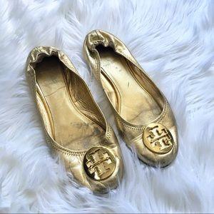 Tory Burch Metallic Gold Flats